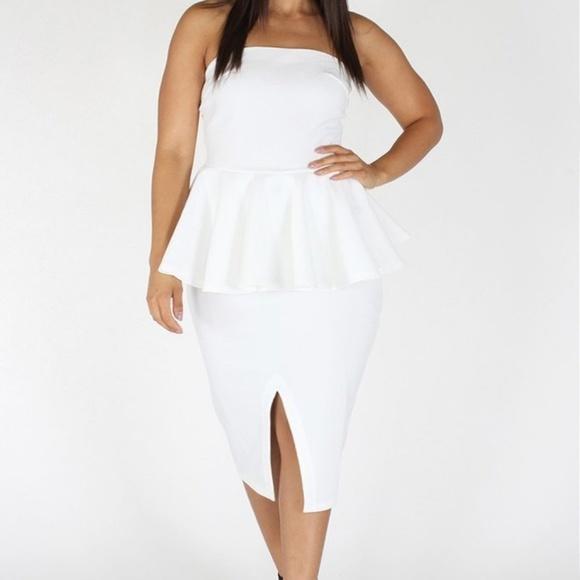 Off Shoulder Peplum Dress White 3x Juniors